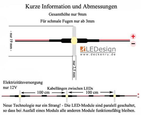 Kabel Set u.Trafo 9 Farben ohne Löten 40 x Fugenlicht,Boden Fliesen 3 mm inkl